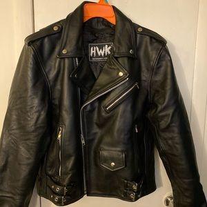 Men's genuine leather biker jacket w/ pads
